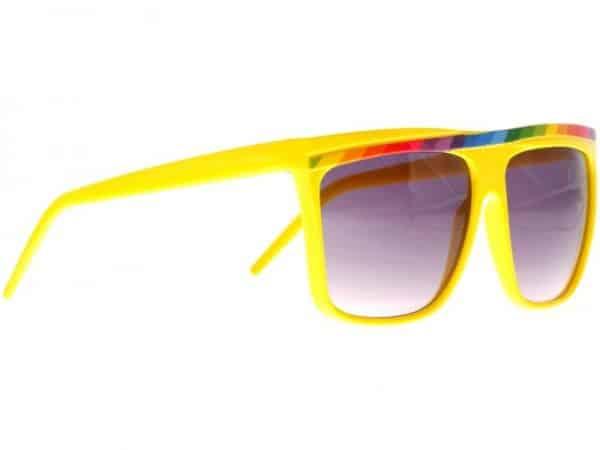 Rainbow Stripes (gul) - Retro solbrille