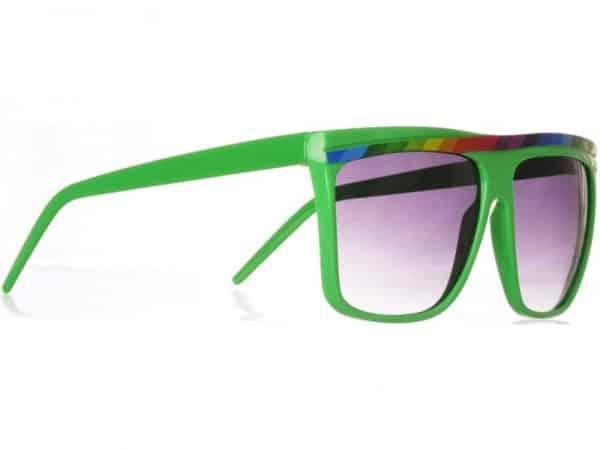 Rainbow Stripes (grønn) - Retro solbrille