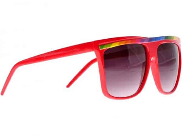 Rainbow Stripes (rød) - Retro solbrille